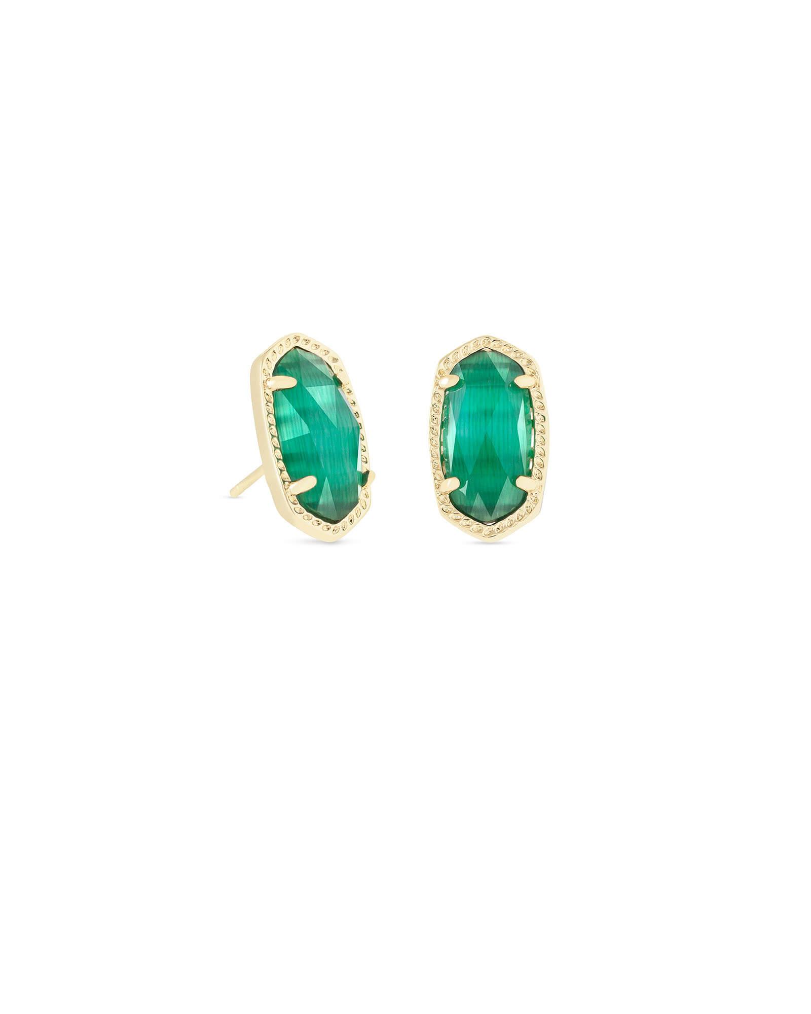 Kendra Scott Ellie Gold Stud Earrings In Emerald Cats Eye